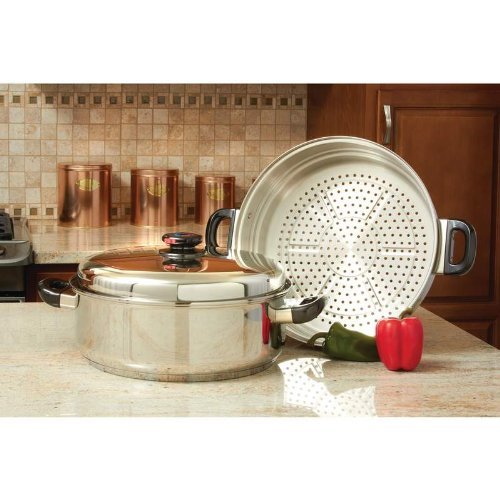 Precise HeatTM T304 Stainless Steel Oversized Skillet, Steamer and Cover Home Kitchen Furniture Decor (Steamer Skillet Stainless Oversized Steel)