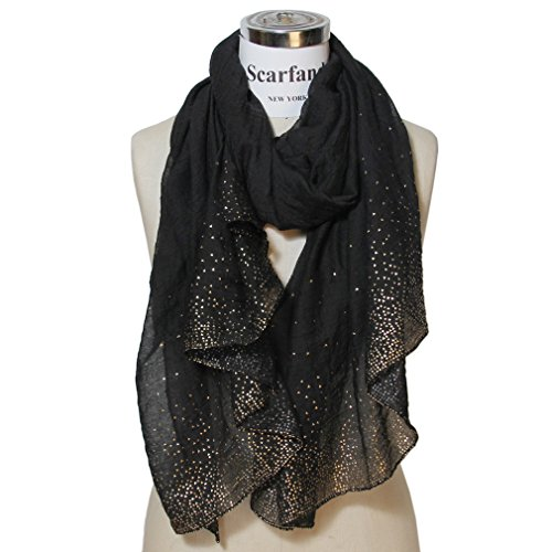 Crystal Scarf (Scarfand's Solid Color Scarf with Crystals (Golden Foil Black))
