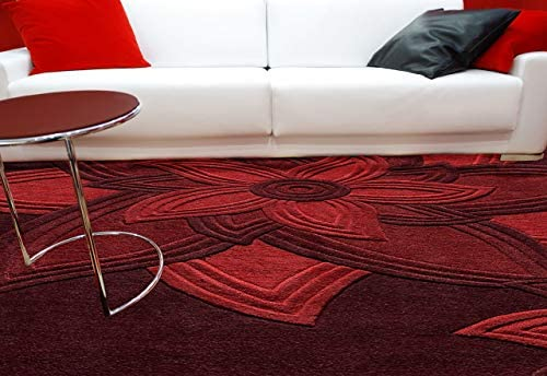 Momeni Rugs Delhi Collection 100 Wool Hand Carved Hand Tufted Contemporary Area Rug, 8 x 10 , Red