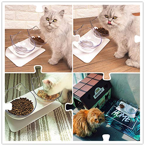 15°Tilted Platform Double Bowl Cat Feeder,Raised Cat Food and Water Bowls with Stand No Spill,Reduce Pets Neck Pain for Cats and Small Dogs … (Double-Bowls)