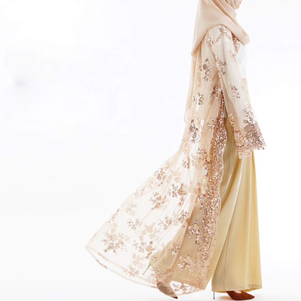 Candyly Muslim Women Lace Sequin Cardigan Maxi Dress Kimono Open Abaya Robe Kaftan Dubai Long Dress Temperament Slim Skirt