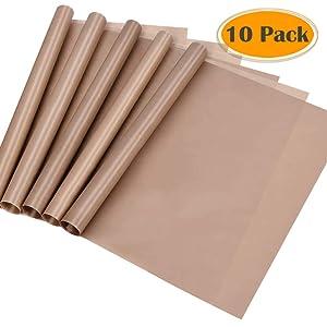 selizo 10 Pack Teflon Sheet for Heat Press Transfer Sheet Non Stick 12''x16'' Heat Press Transfer Paper Heat Resistant Craft Mat