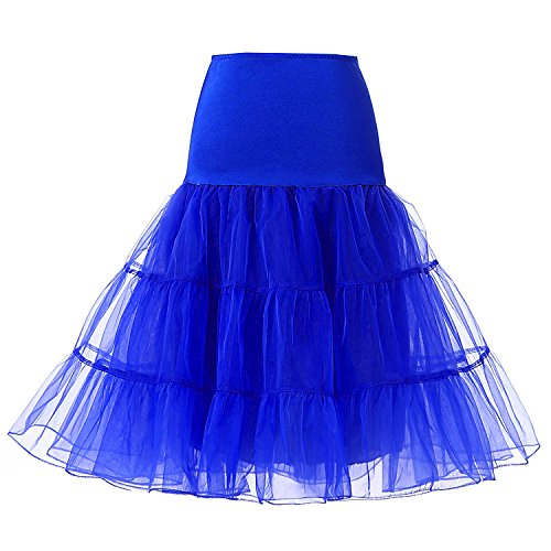 Blidece Women's Plus Size 50s Vintage Tutu Skirt Petticoat Rockabilly Crinoline Underskirt Royal blue M