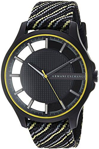 Armani Exchange Men's Black and Yellow Fabric Watch AX2402