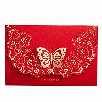 Amazon Com Wishmade Chinese Style Red Wedding Invitations Fashion