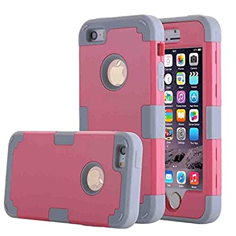 Asstar 3 in 1 Hard PC+ Soft TPU Impact Protection Heavy Duty Shockproof Full-Body Protective Case for Apple iPhone SE / iPhone 5 5S - Rose (Cheap Iphone 5 Speck Cases)