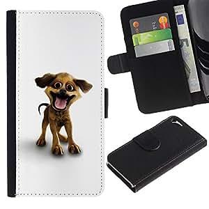Ihec-Tech / Flip PU Cuero Cover Case para Apple Iphone 5 / 5S - Funny Happy Puppy Dog