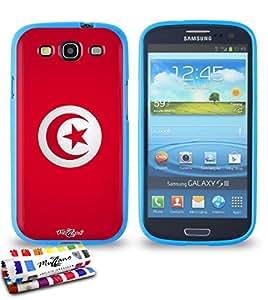 Carcasa Flexible Ultra-Slim SAMSUNG GALAXY S3 / I9300 de exclusivo motivo [Bandera Tunez] [Azul] de MUZZANO  + ESTILETE y PAÑO MUZZANO REGALADOS - La Protección Antigolpes ULTIMA, ELEGANTE Y DURADERA para su SAMSUNG GALAXY S3 / I9300