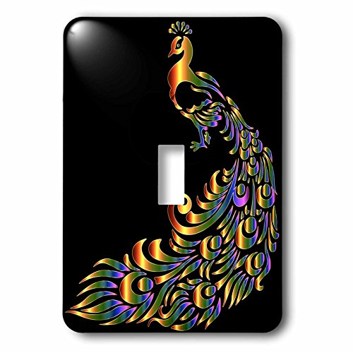 3dRose Metallic Prism Art - Image of Metallic Prism Peacock on Black - Light Switch Covers - single toggle switch (lsp_279894_1)