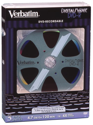 Verbatim DigitalMovie DVD-R Recordable Media 4.7GB 4X with Tall Jewel Cases (Model 94728, 3-Pack) (Discontinued by Manufacturer)