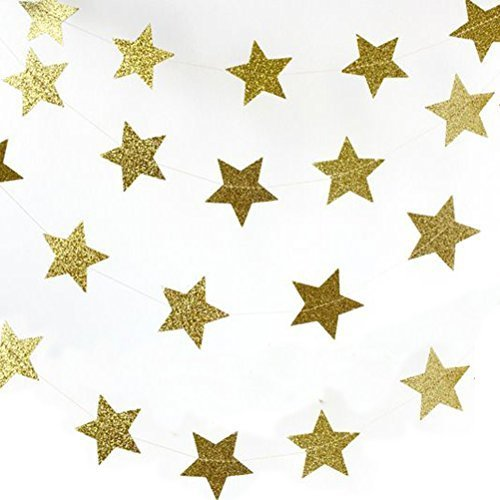 Patriotic Stars Backdrop (MOWO Glitter Paper Garland Circle Five Star Hanging Decor,2'' in Diameter,2pc 20feet in Total (gold glitter,2pc))