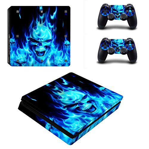 eXtremeRate Full Faceplates Skin Console & Controller Decal Stickers for PS4 Slim Console Skin X 1 + Controller Skin X 2+ Lightbar Decal X 2