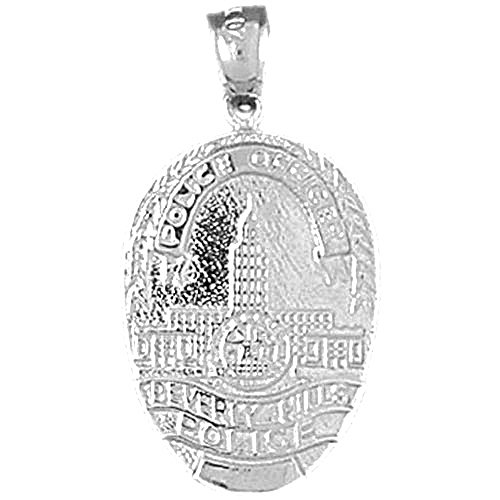 14K White Gold Beverly Hills Police Pendant Necklace - 30 mm Beverly Hills Gold Jewelry