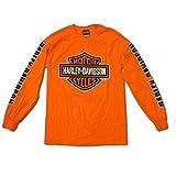 Harley-Davidson Mens Bar and Shield Long Sleeve Safety Orange (X-Large)