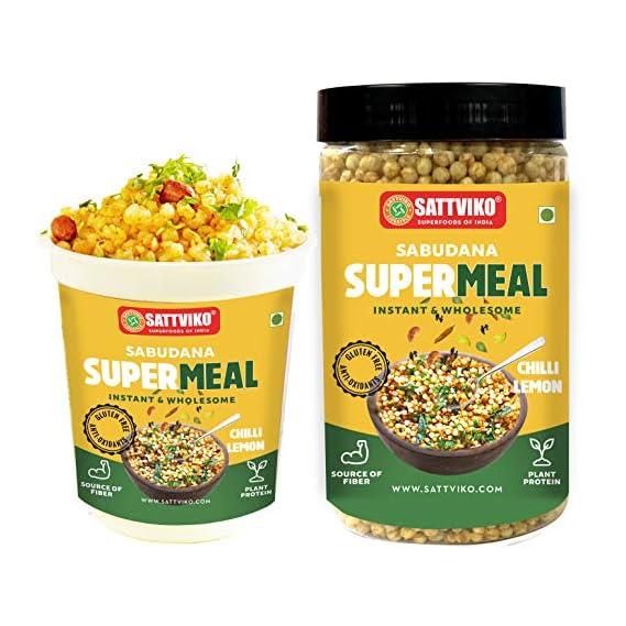 Sattviko Sabudana Supermeal Chilli Lemon, 4.5 Meals, 295g | Ready to Eat Food | Gluten Free (1 Cup + 1 Refill Pack)