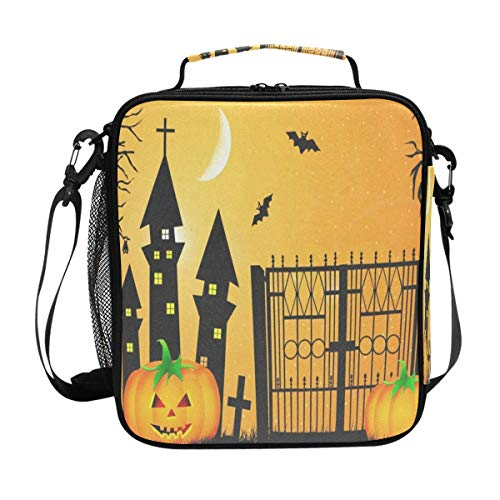 Halloween Pumpkin Cool Lunch Bag Womens Insulated Lunch Tote Containers Zipper Square Lunch Box for Kids Men ()
