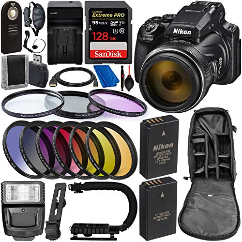 Nikon Sync - Nikon COOLPIX P1000 Digital Camera with Deluxe Accessory Bundle - Includes: SanDisk Extreme PRO 128GB Memory Card, Extra Battery & Much More