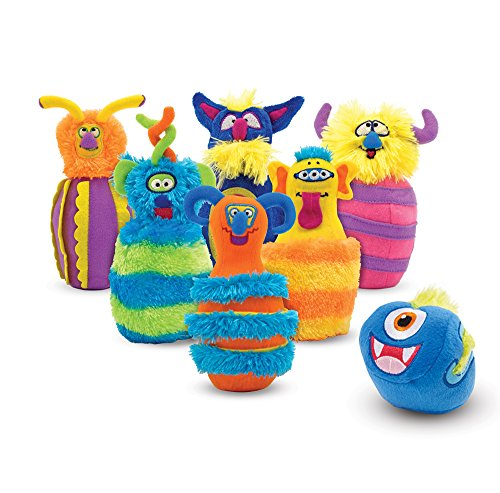 Melissa & Doug Fuzzy Monster Bowling Pins & Ball with Mesh Storage Bag (8Piece)