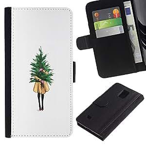 Billetera de Cuero Caso Titular de la tarjeta Carcasa Funda para Samsung Galaxy Note 4 SM-N910 / Winter White Christmas Tree Xmas / STRONG