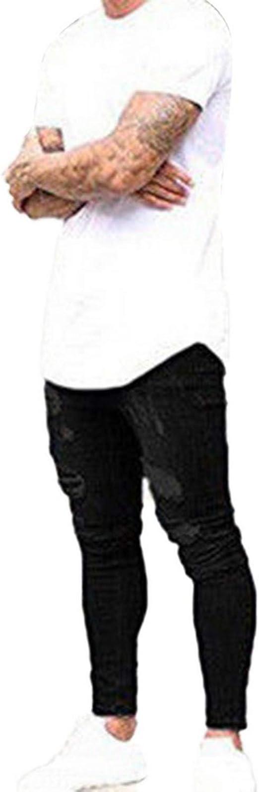 秋の破れたスキニージーンズ男性ライトデニムパンツヒップホップズボンカジュアルホールジーンズオムストリートウェアボトムス