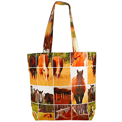 Digital stampato multiuso Moda Shopping Bag - cavallo colorato di seta del faux Tote Bag con Polysatin Fodera