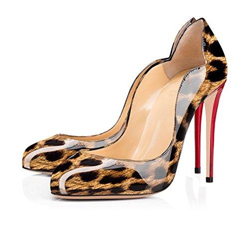 EDEFS Damen High Heels Elegant Runde Zehe Geschlossen Pumps Hoch Absatz Schuhe Leopard
