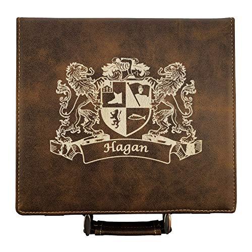 (Hagan Irish Coat of Arms Leather Poker Set)