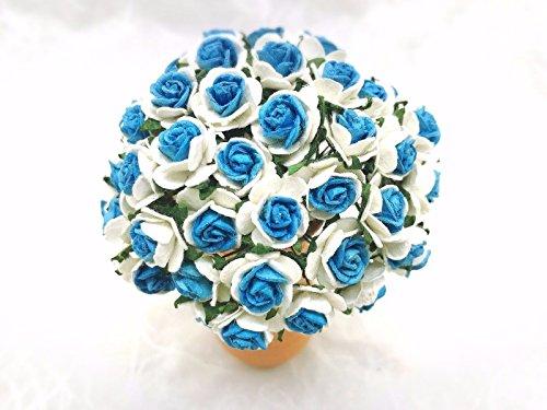 JN Siam789 white blue 50 pcs. Rose Mulberry Paper Flower Craft Handmade Wedding 15 mm Scrapbook #865 ()