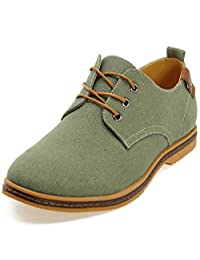 DADAWEN Men's Canvas Lace-up Oxford Casual Shoes