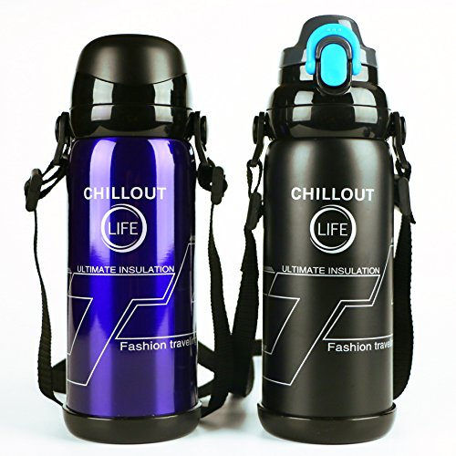 800 Ml Bottle (Stainless Steel Thermos Bottle 27 oz (800 ml) with Strap & 2 Interchangeable Lids. Multi-Function Large Travel Thermos for Hot Drinks / Sport Bottle for Cold Drinks, Black)