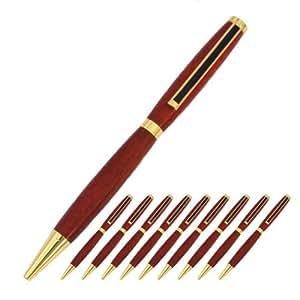 Legado woodturning, Slimline Pen Kit, oro con negro rayas acabado, Pack of 10Style: dorado con Clip de rayas negro, Modelo: Slimline _ oro _ BS _ 10, herramientas y Ferretería
