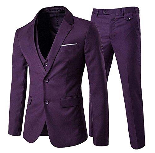 Cloudstyle Men's 3-Piece Suit 2 Buttons Slim Fit Solid Color Jacket Smart Wedding Formal Suit (Medium, Purple) ()