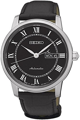 Seiko Men's Presage 39mm Black Leather Band Steel Case Sapphire Crystal Automatic Analog Watch SRP765J2