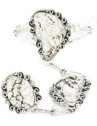 $900Tag Large Silver Navajo Natural White Buffalo Turquoise Native American Slave Bracelet Ring