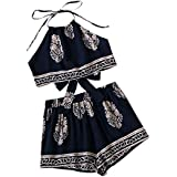 SweatyRocks Women's 2 Piece Set Halter Crop Top and Shorts Set Floral Printed Navy M