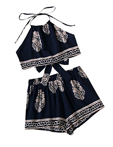 (SweatyRocks Women's 2 Piece Set Halter Crop Top and Shorts Set Floral Printed Navy M)