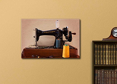 Old Sewing Machine with Scissors and Glasses Retro Vintage Style Wall Decor ation