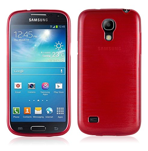 Cadorabo Case Works with Samsung Galaxy S4 Mini in RED - Shockproof and Scratch Resistant TPU Silicone Cover - Ultra Slim Protective Gel Shell Bumper Back Skin