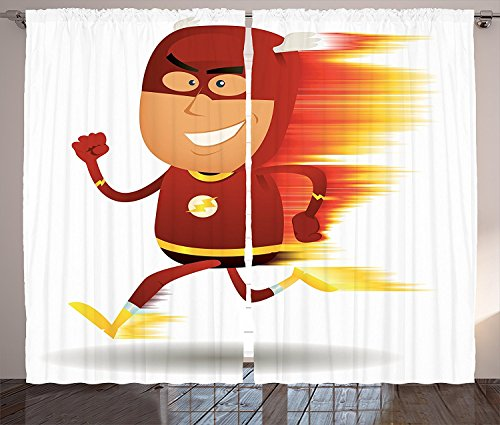 Superhero Curtains 2 Panel Set Lightning Bolt Man with Cape and Mask Fast as Light Fun Cartoon Character Art Print Living Room Bedroom Decor White (Bloody Bolt Kit)