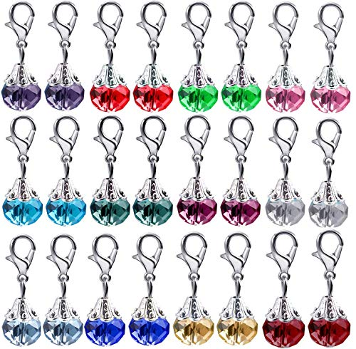 Clip on Charms,24 Pieces Crystal Dangle Charms Pendant with Lobster Claw Clasp for Jewellery Making - 12 Colors (Crystal Clasp)