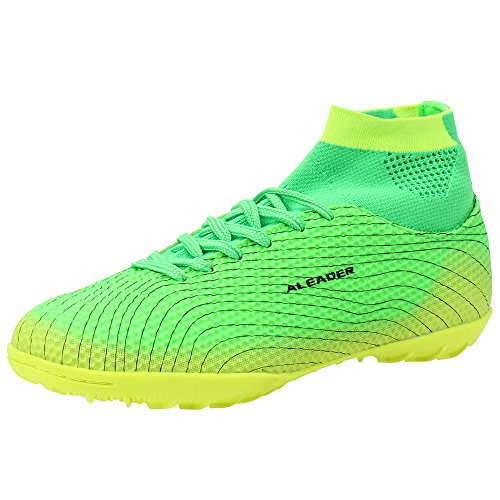 Image of Aleader Boy's Athletic Turf Indoor Soccer Shoes Football Boots Green 5 M US Big Kid