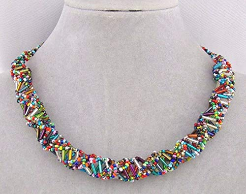 (Czech Glass Bead Necklace For Women Multi Color DNA Fashion Jewelry NEW Magnetic Clasp )