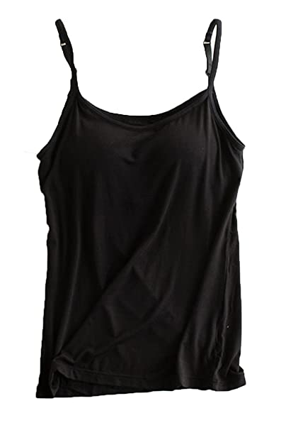78f9d639e FOURSTEEDS Womens Modal Built in Bra Adjustable Spaghetti Straps V-Neck  Solid Color Cami Tunic Pajama Tank Tops at Amazon Women s Clothing store