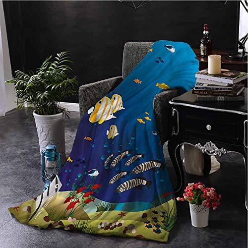 Luoiaax Aquarium Children's Blanket Fishes in The Deep Ocean Lightweight Soft Warm and Comfortable W60 x L70 Inch (Fish Tank Lsu)