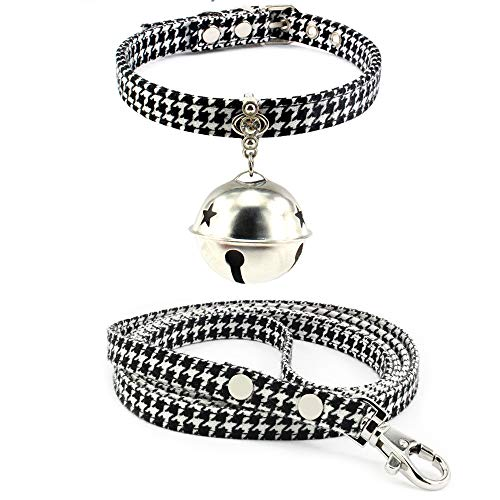 Benala Floral Cat Collar Set Handmade from Adjustable Silver Metal Buckle Cat or Kitten Safety Collar with Removable Bell Black-A S:(Neck 8.7-10.7