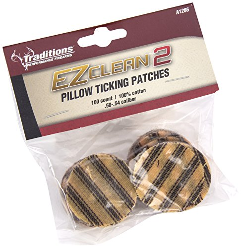 Traditions Performance Firearms Black Powder EZ Clean 2 .50-.54 Cal 100/Bag Pillow Ticking - Powder Patch Black
