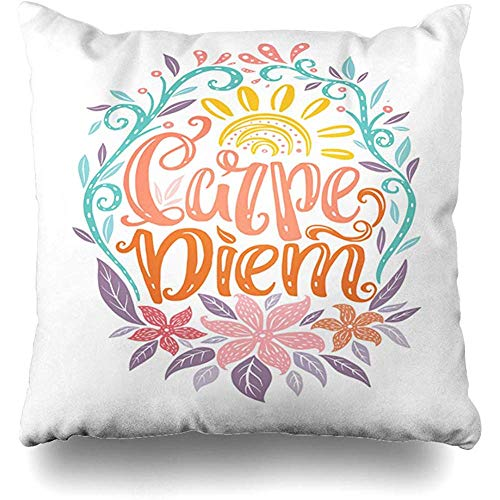 Throw Pillows Covers Carpe Diem Lettering Seize Day Unique Creative Typographic Tattoo Popular Latin Phrase Home Decor Pillowcase Square Size 18
