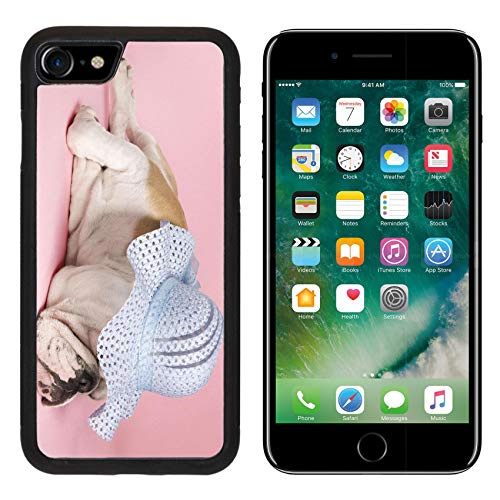Liili Premium Apple iPhone 8 Aluminum Backplate Bumper Snap Case Image ID: 1795748 English Bulldog Sleeping on Pink Background and Wearing a Bonnet