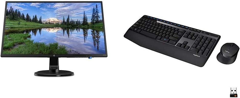 HP 24-inch FHD IPS Monitor with Tilt Adjustment and Anti-Glare Panel (24yh, Black) & Logitech MK345 Wireless Combo Full-Sized Keyboard with Palm Rest and Comfortable Right-Handed Mouse - Black