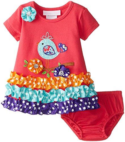 Bonnie Baby Baby Girls' Bird Applique Dress, Coral, 18 Months